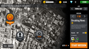"A screenshot of the 'Breaking News' mission selection screen from ""Sniper 3D Assassin."""