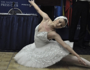 Award-winning ballerina Olga Kifyak performs at an NPC Newsmaker Dec. 14.