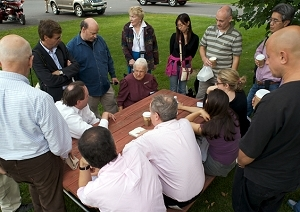 Ada Fisher briefs Press Club group in Amish Country