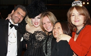 Board member-elect Rodrigo Valderrama enjoys the New Year's Eve celebration with singer Chou Chou, member Natalya Anfilofyeva, Min Chan, and Luda Anfilofyeva