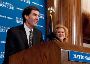 Michael Weiner, executive director of the Major League Baseball Players Association, takes questions from a luncheon audience on April 11. National Press Club President Theresa Werner moderates.