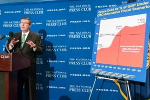 Retiring Senator Kent Conrad addresses an NPC Newsmaker event.