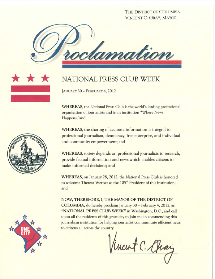 National Press Club Week Proclamation